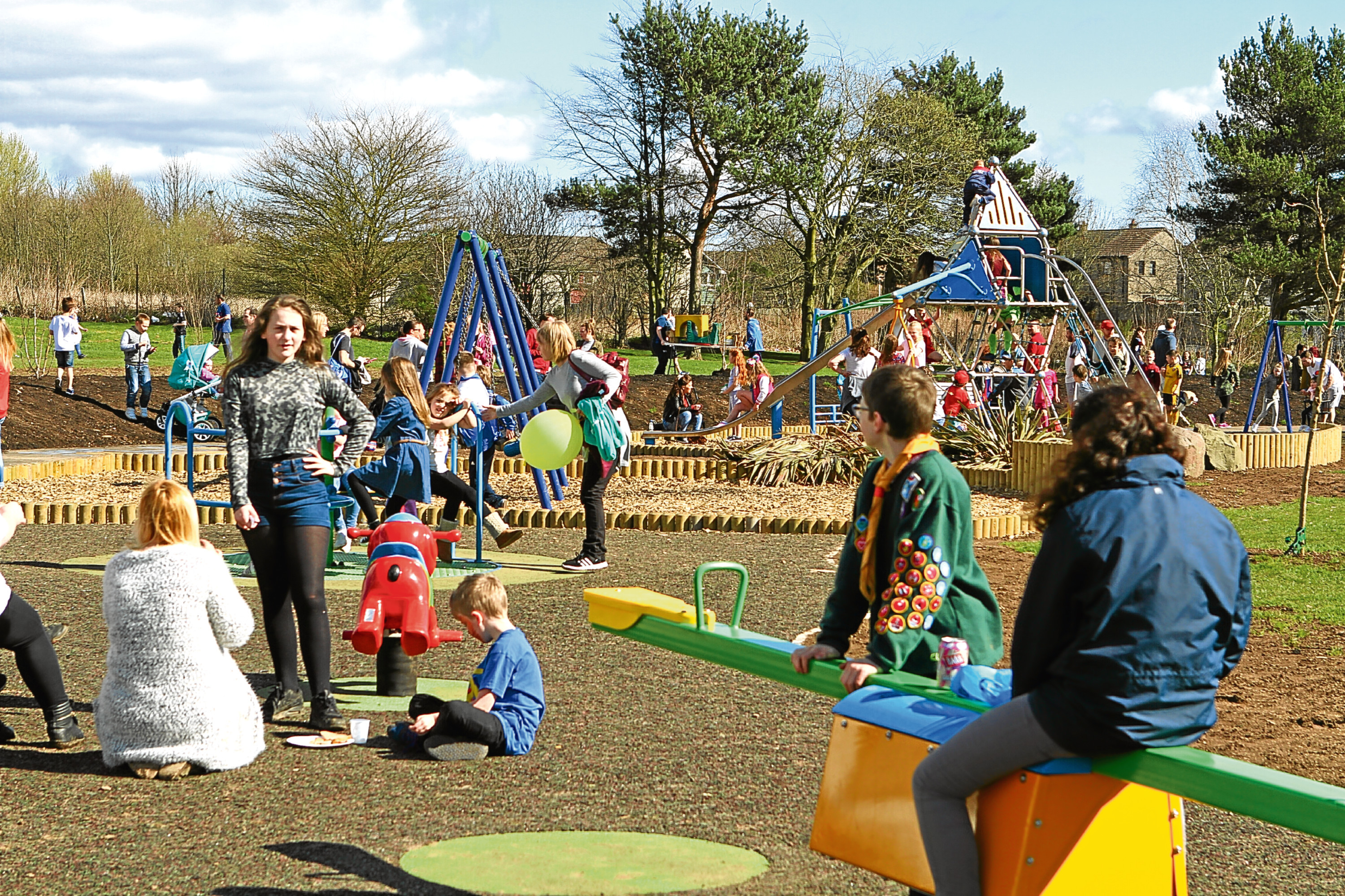 Families were out in force to enjoy an afternoon of fun for the Fintry park's official opening.