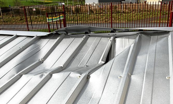 The damage to the roof