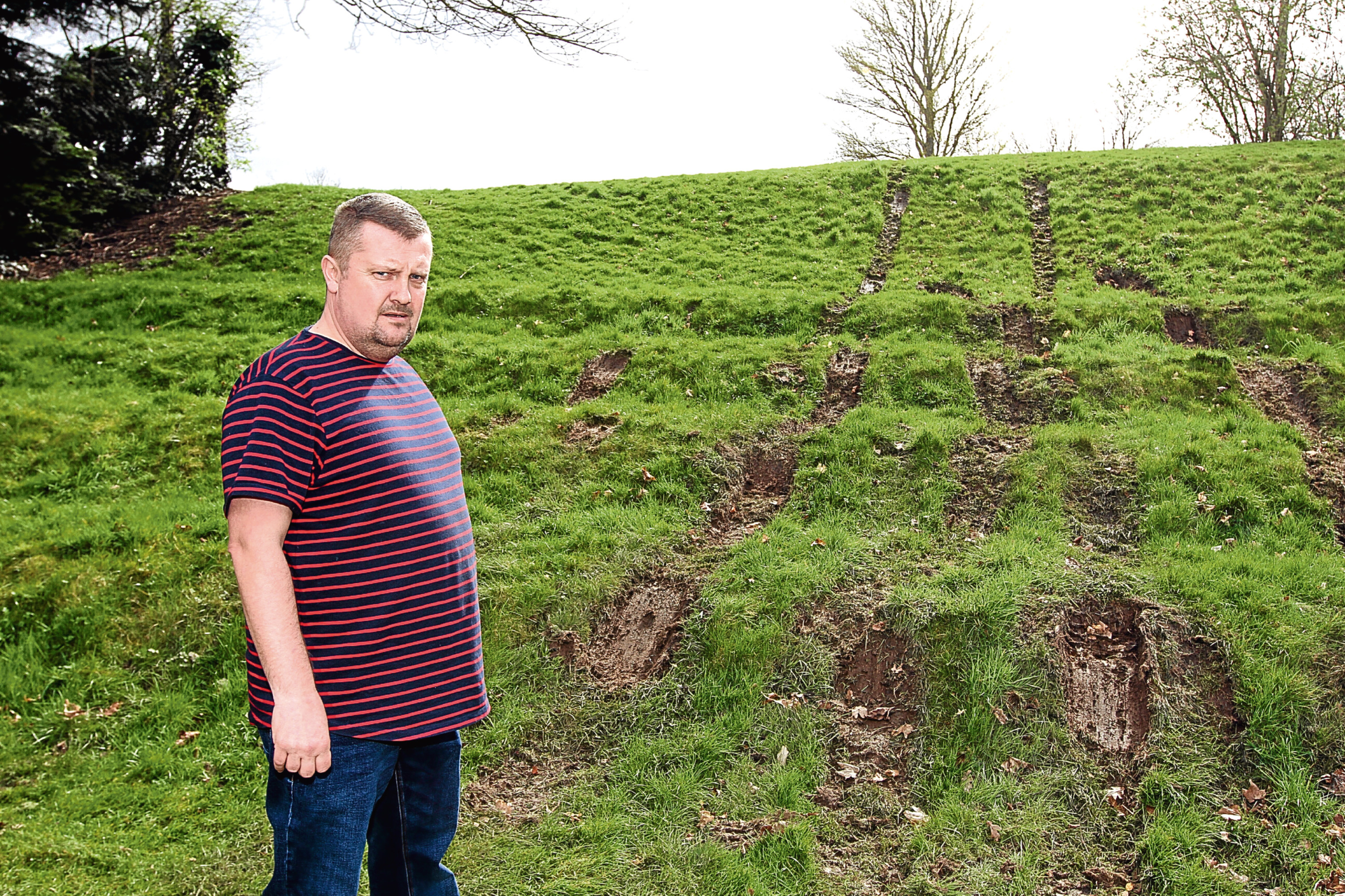 Dean Duncan, who runs Castle Functions Dundee, has hit out at the driver who tore up grass at Mains Castle.