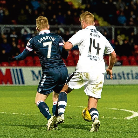 Mark O'Hara is adjudged to have brought down Michael Gardyne in the box, resulting in a controversial spot-kick winner for the Staggies.
