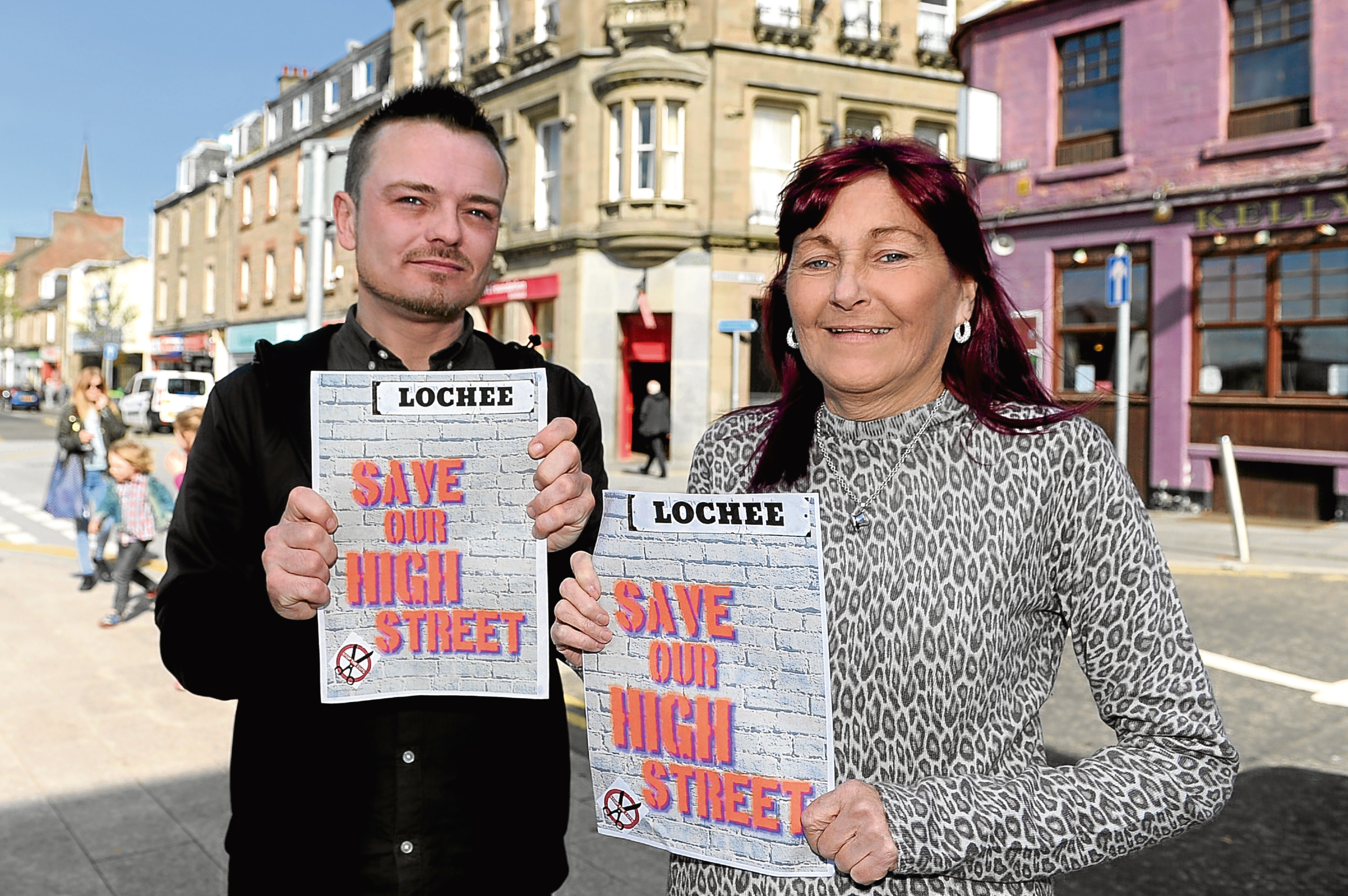 Myles McCallum and Jeanette Whitton of the Save Our High Street campaign.