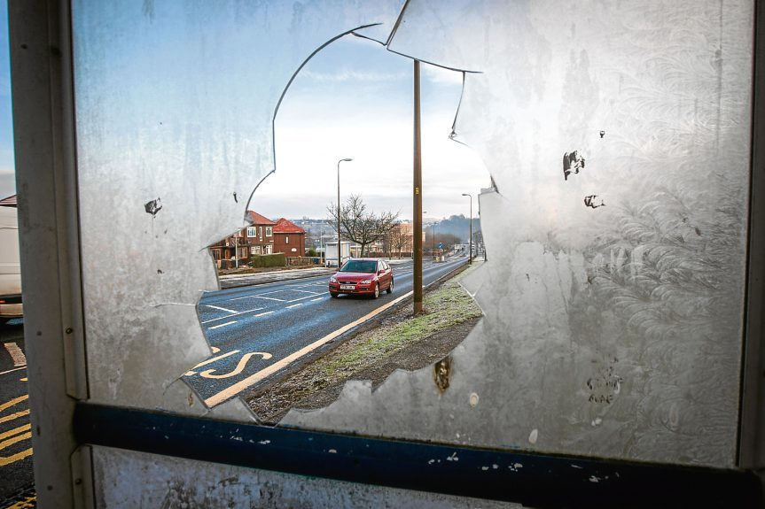 Damage to a bus stop in Pitkerro Road