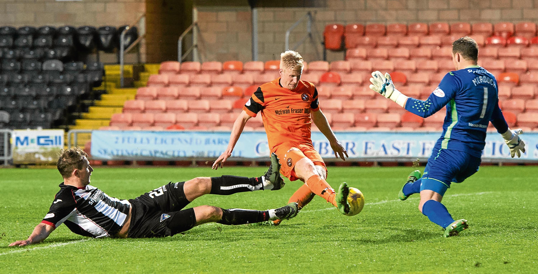 Thomas Mikkelsen nets United's winner against Dunfermline in midweek.