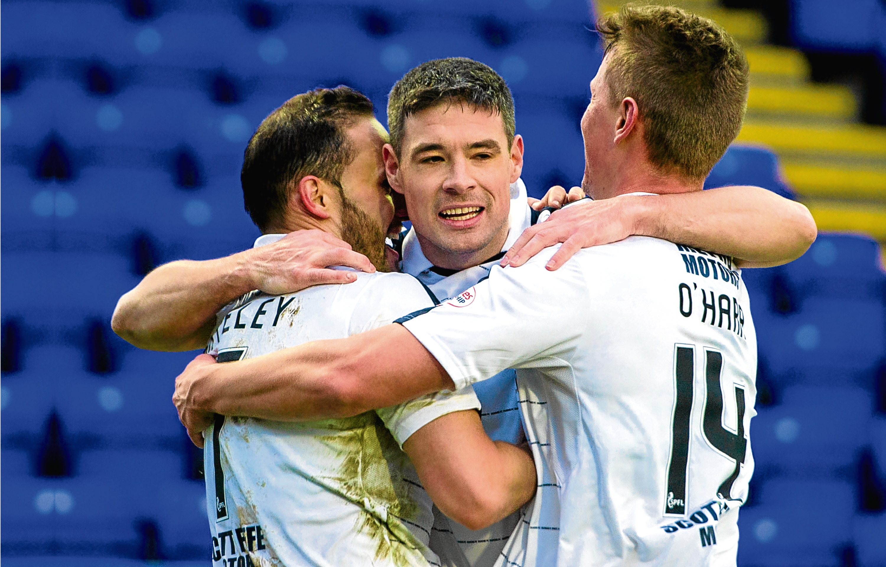 Darren O'Dea, celebrating with Tom Hateley and Mark O'Hara at Inverness earlier this season, wants Dundee to show their fight and take their chances when they come along, starting tomorrow.