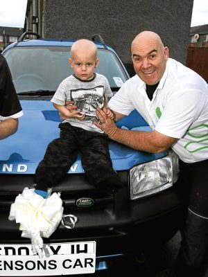 G Jennings pic,   jenson Hammond , barra tce dundee at the wheel of the new family car donated by charlie kean.