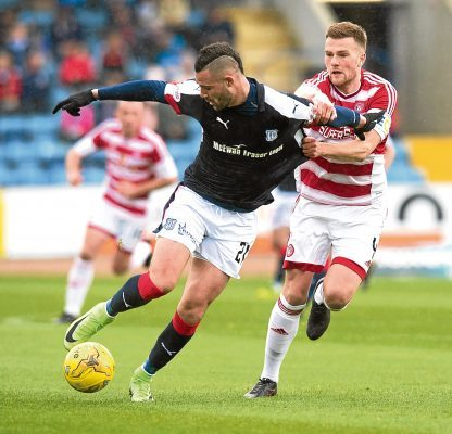 Dundee's Marcus Haber in action against Michael Devlin of Hamilton
