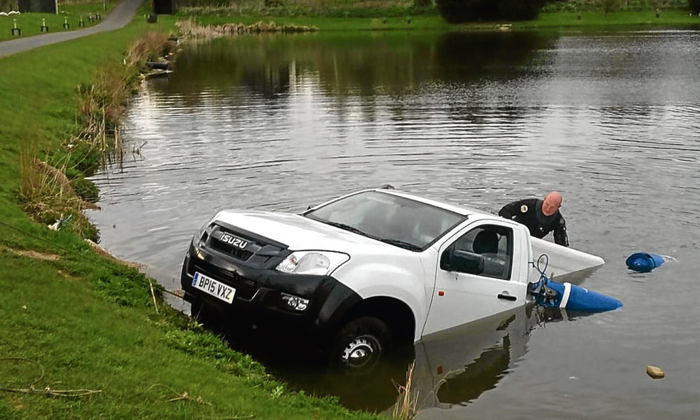 A vehicle which ended up in a pond at Forbes of Kingennie
