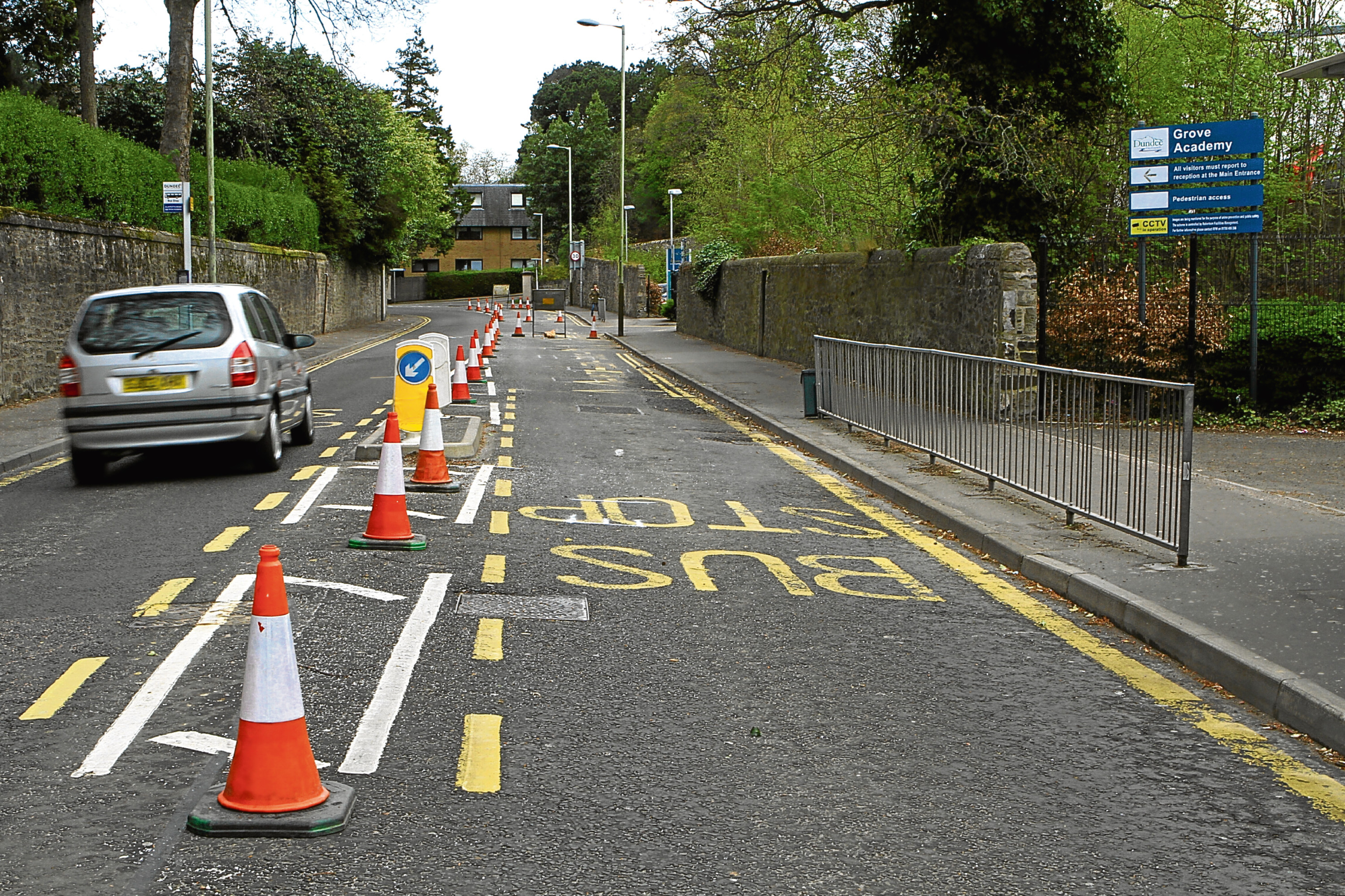 The temporary roadworks at Grove Academy.