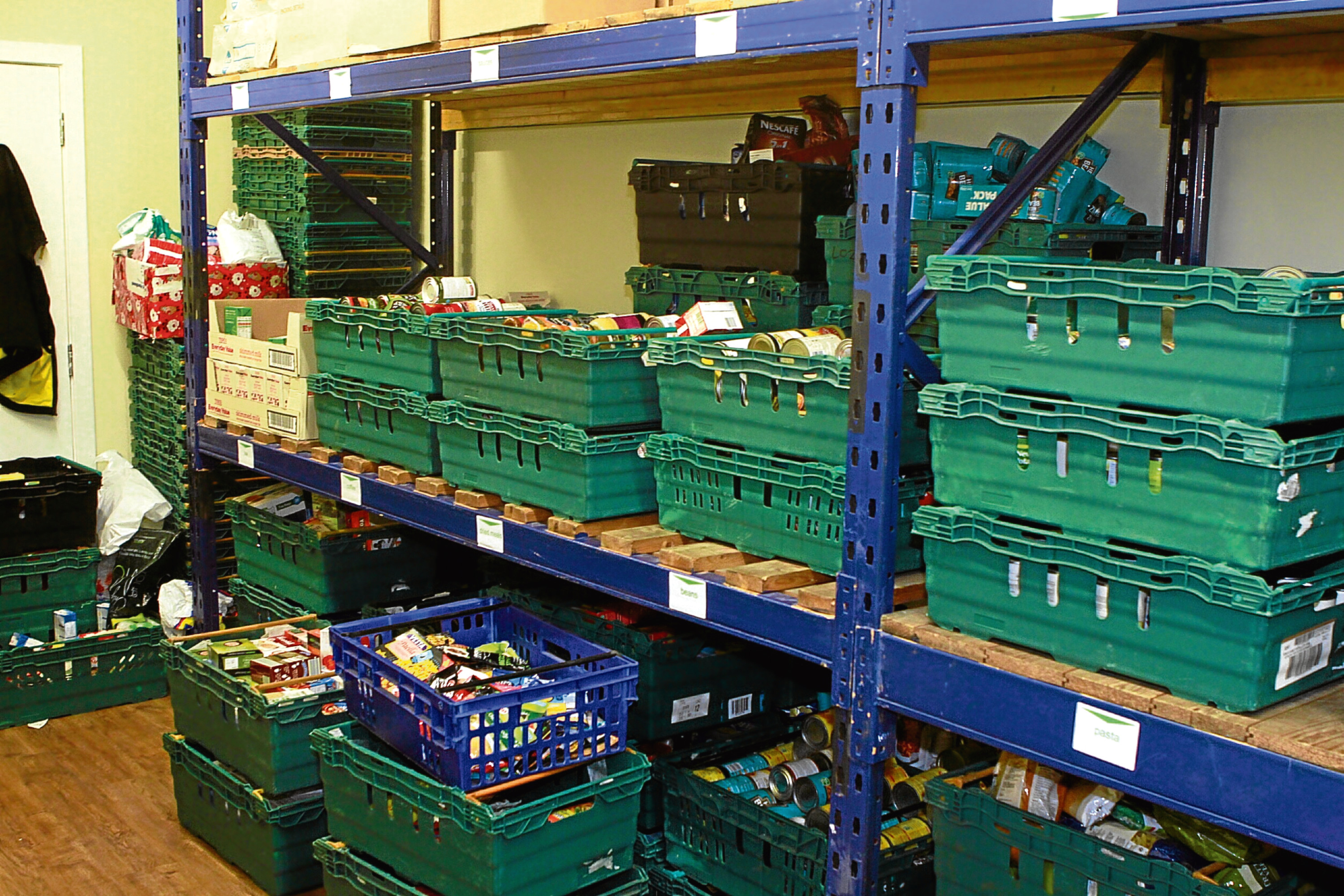 General view of food and supplies, at the Dundee Foodbank.