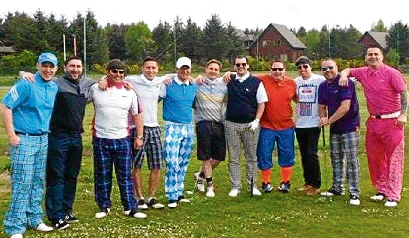 Les's friends, pictured last year, are set to play a third round of golf in his memory while raising cash for charity.