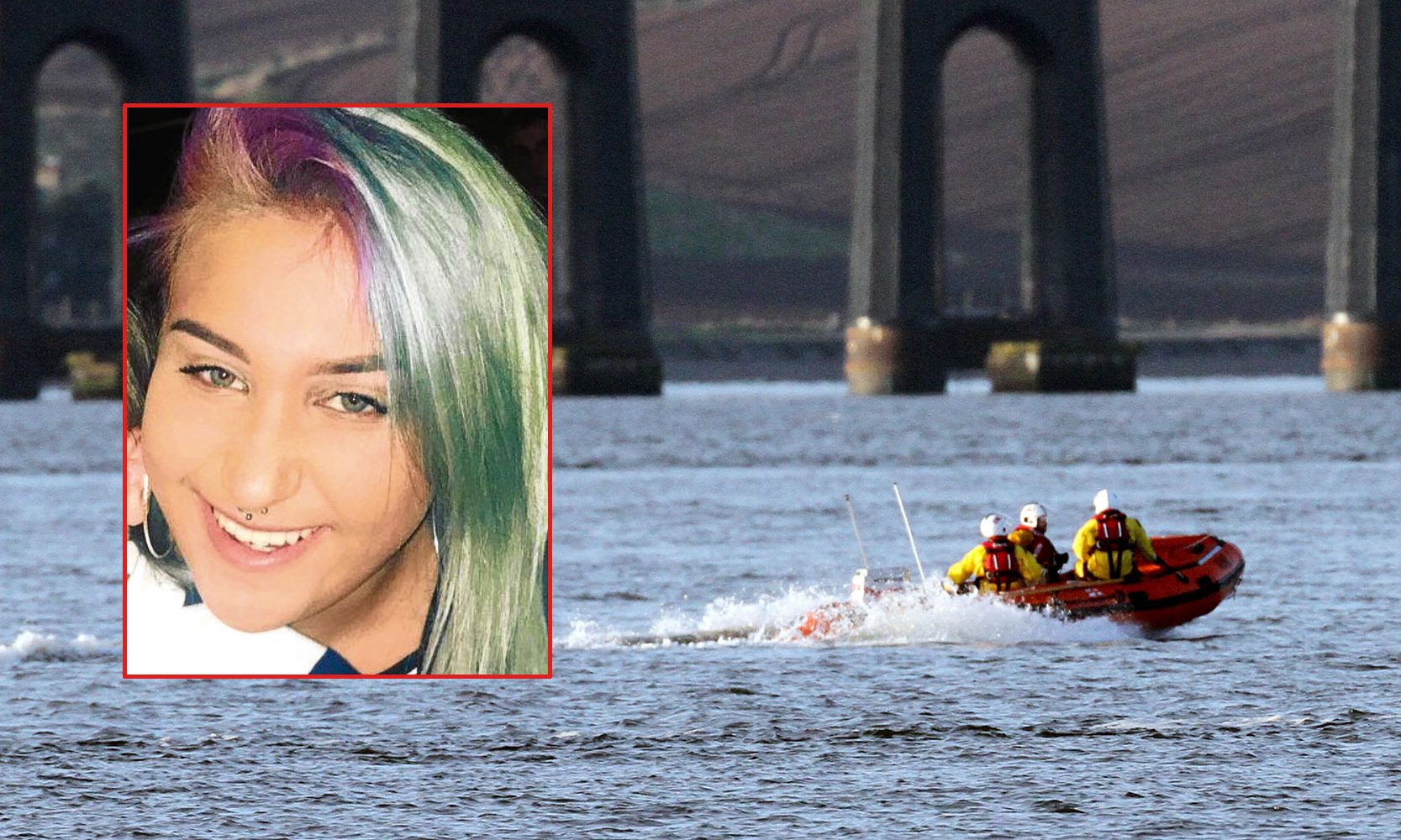 An RNLI lifeboat from Broughty Ferry searches the River Tay, close to the railway bridge, for Claudia (inset).