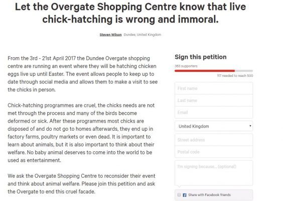 Overgate chicks petition