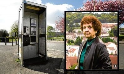 The phone box on Craigowan Road is stay. Inset: Stella Carrington