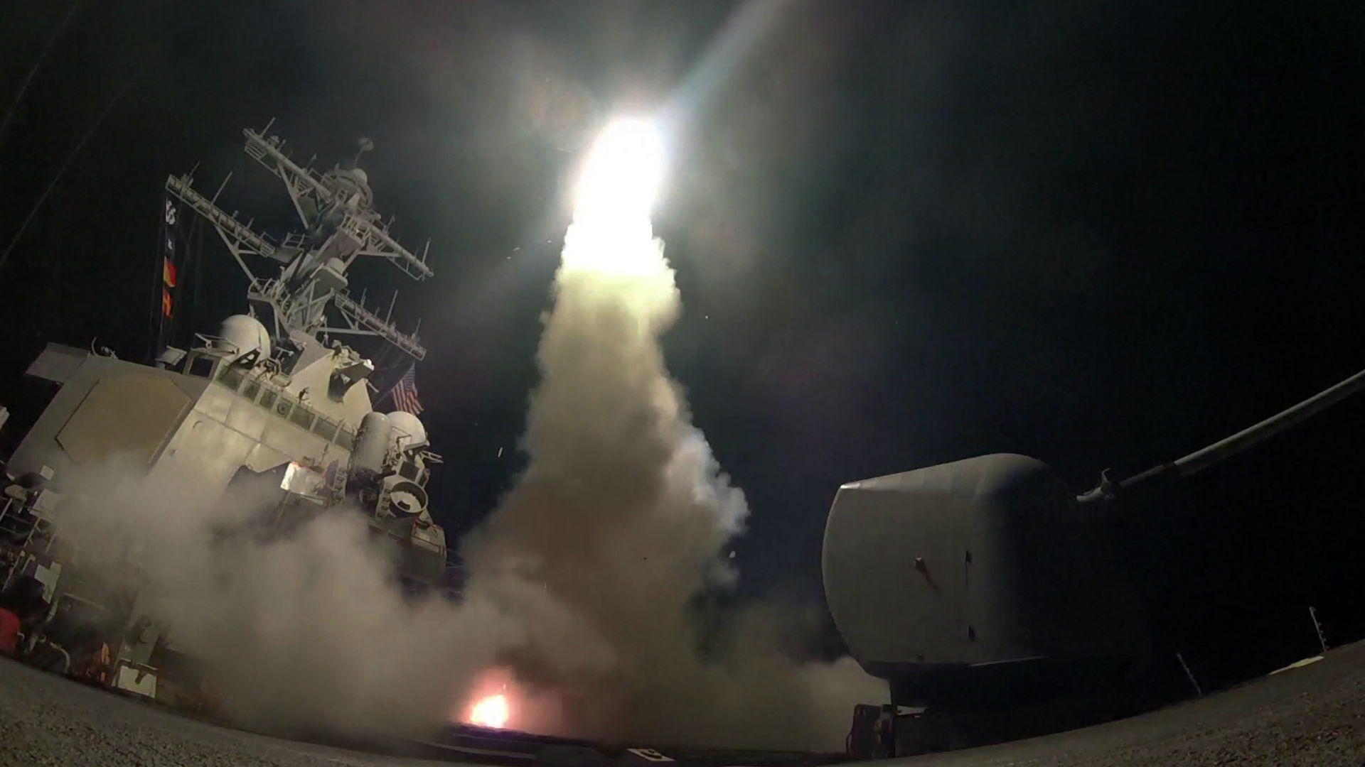 The surprise barrage of 59 cruise missiles was the first direct US attack on the Syrian government.