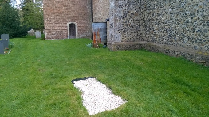 The unmarked grave is being investigated by police. Image from Herfordshire Police