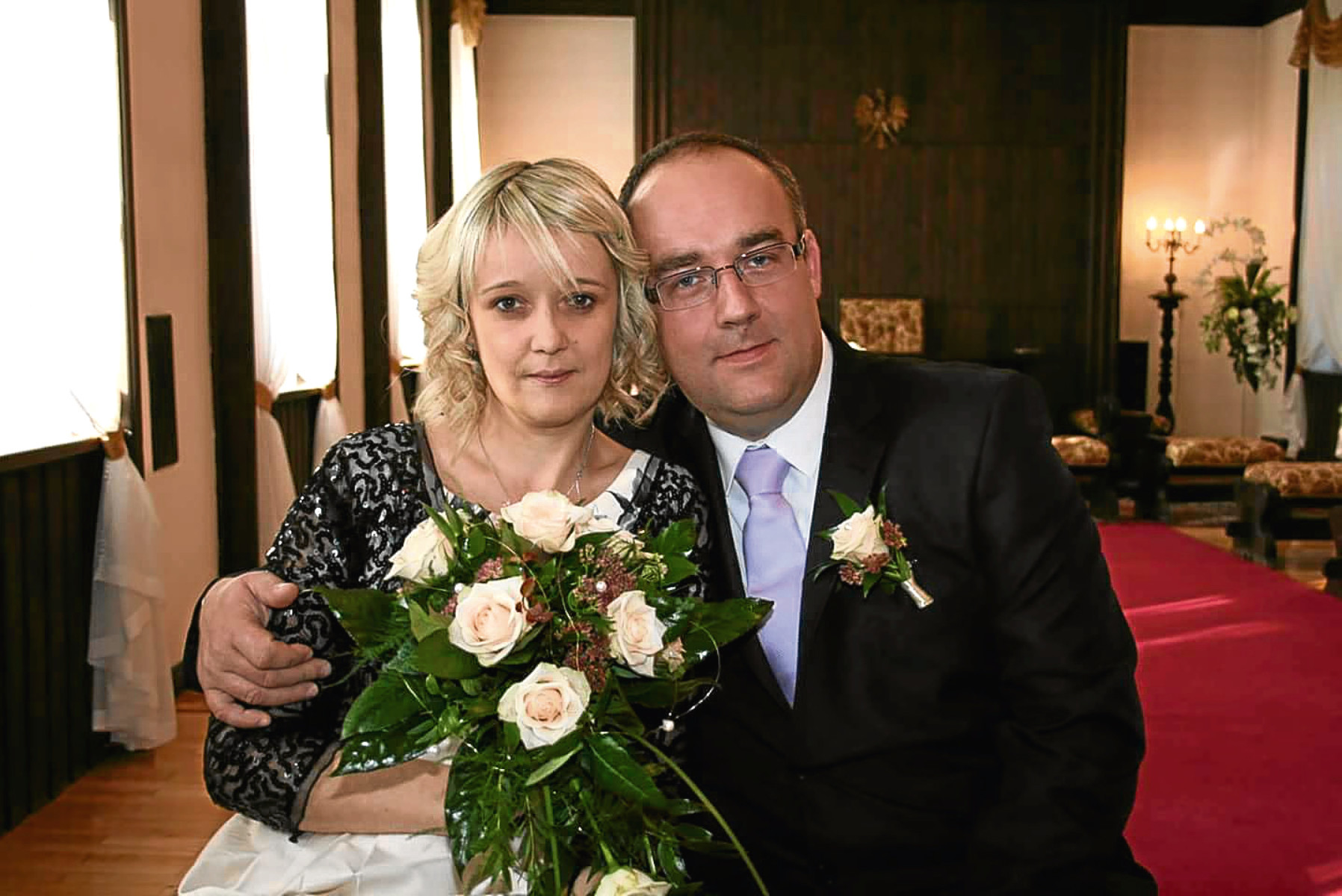 Ewa with Janusz on their wedding day in October 2013.