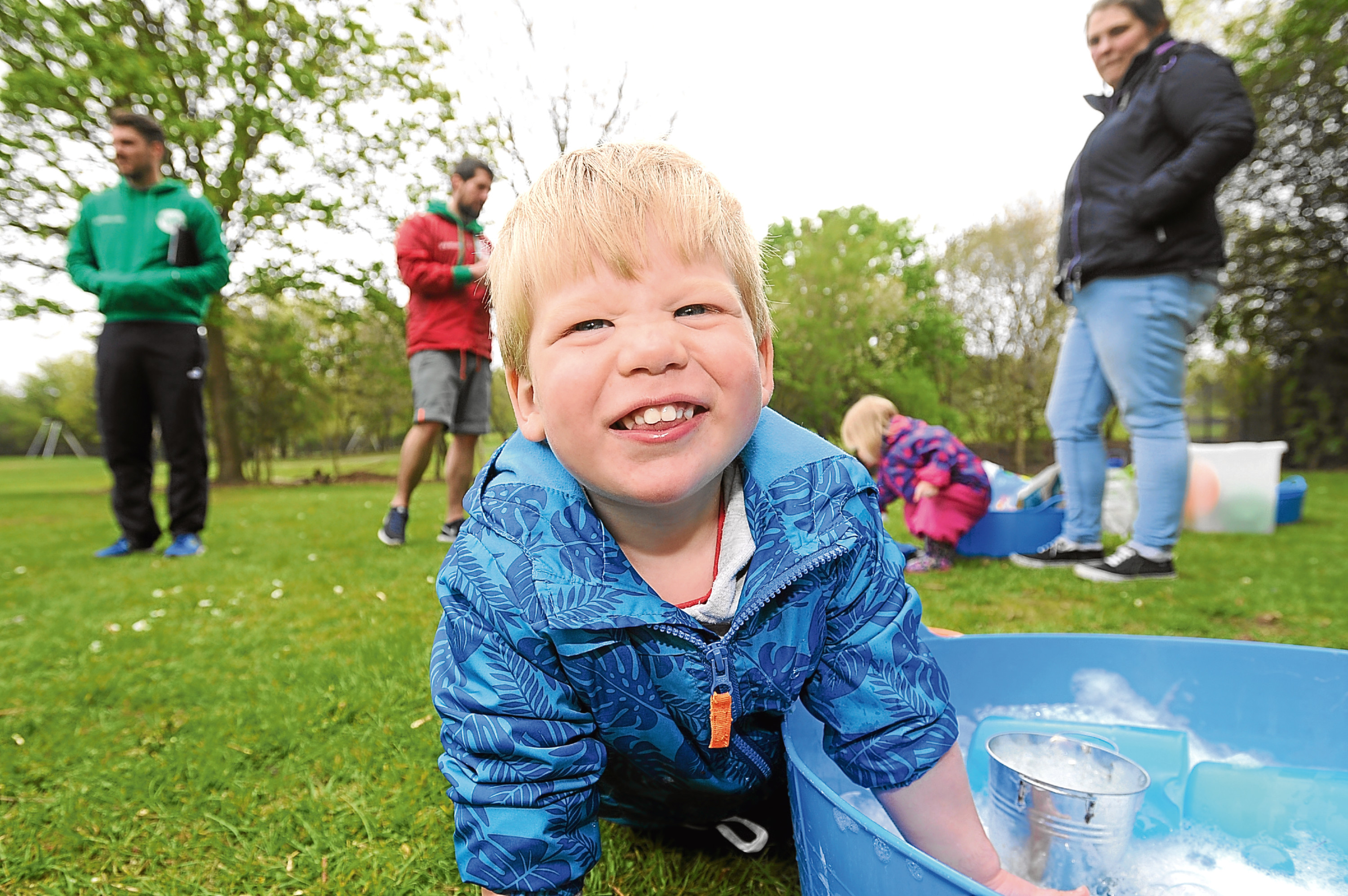 Rudi Carroll enjoys Messy Play at South Road park. The event was part of ParkLives, a scheme to get Dundonians active.