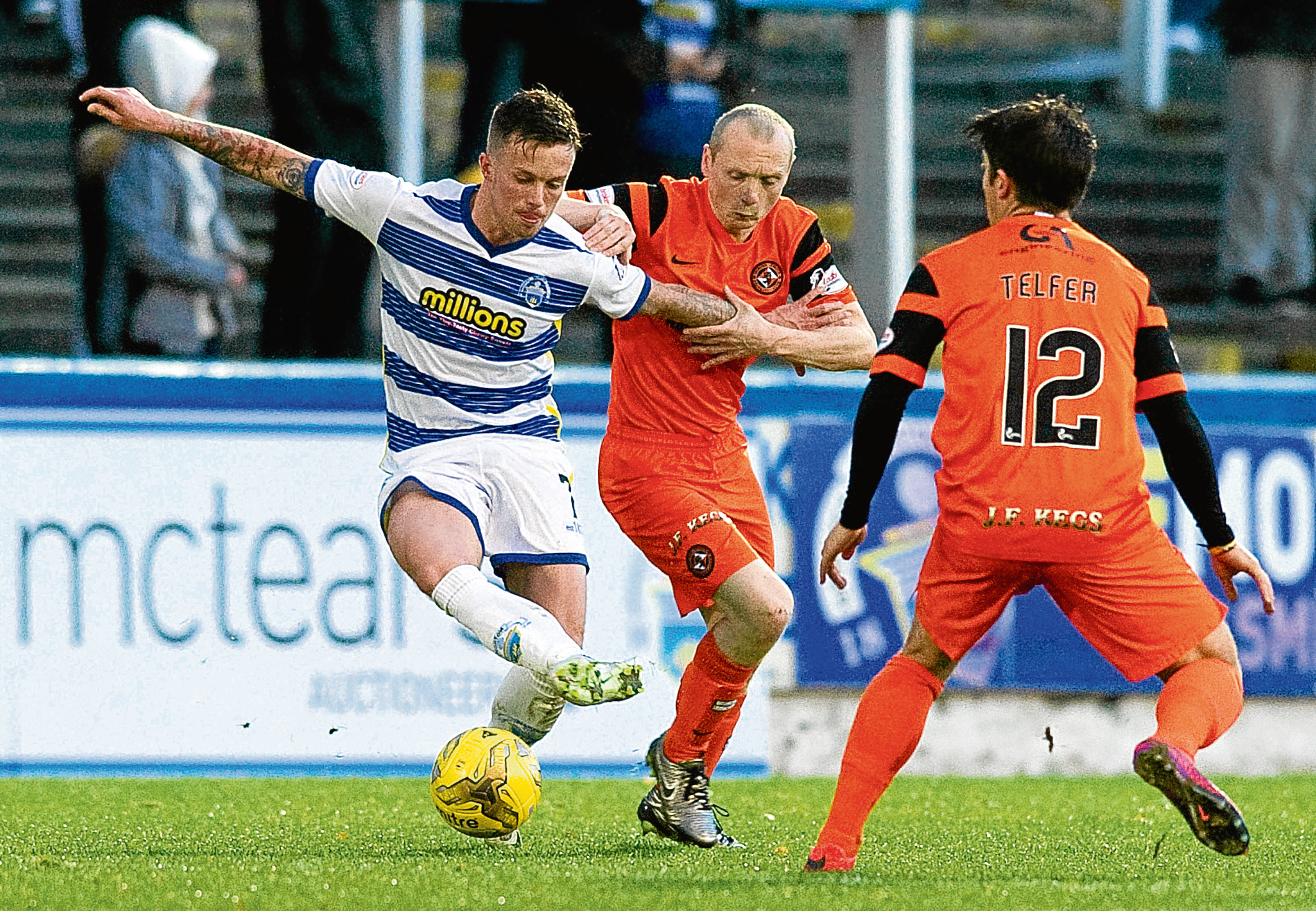 Willo Flood and Charlie Telfer combine to cut out a threat from Gary Oliver when Dundee United played this weekend's final league fixture opponents Morton at Cappielow in a 0-0 draw in November.