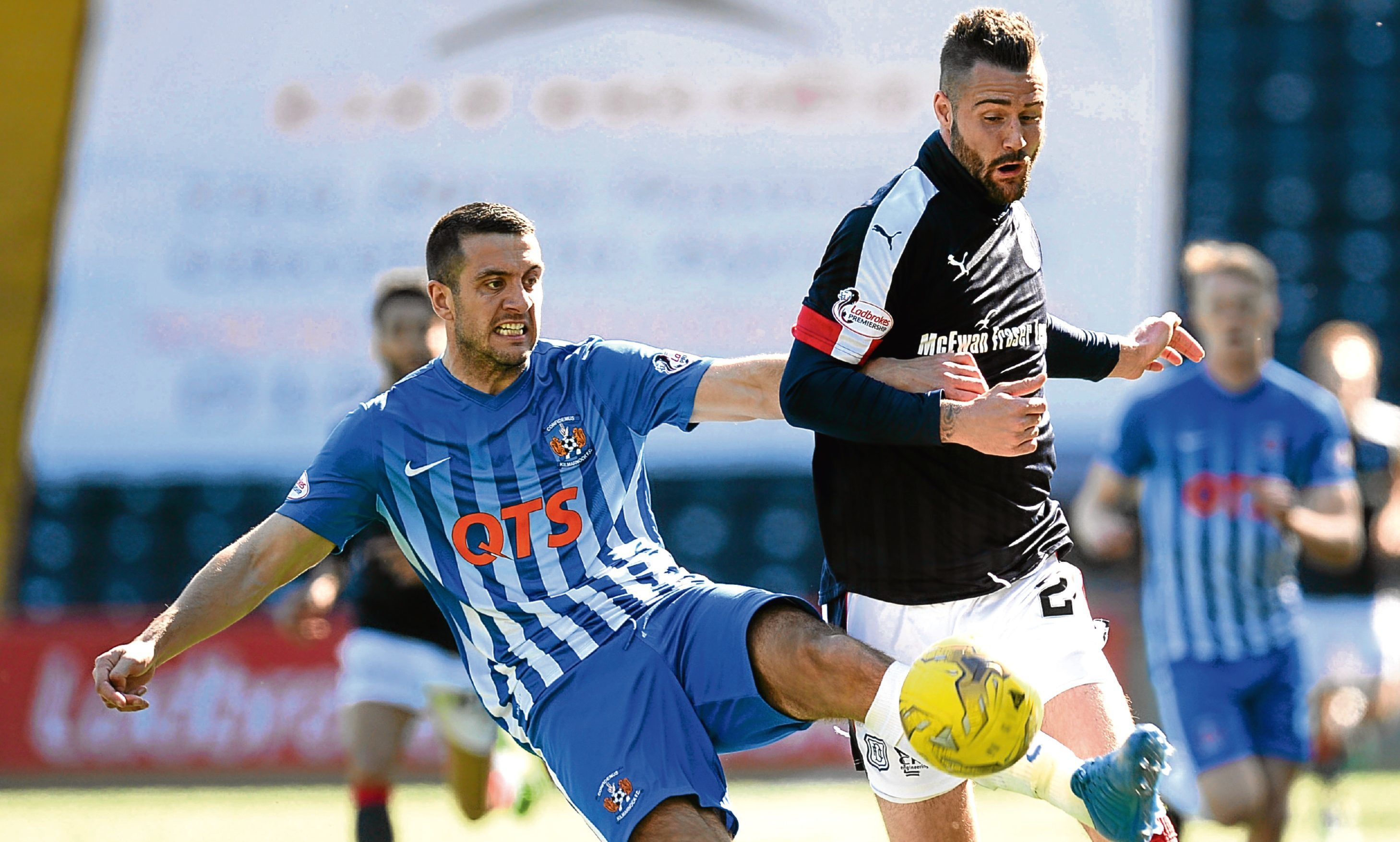 Kilmarnock's Gary Dicker (left) with Dundee's Marcus Haber