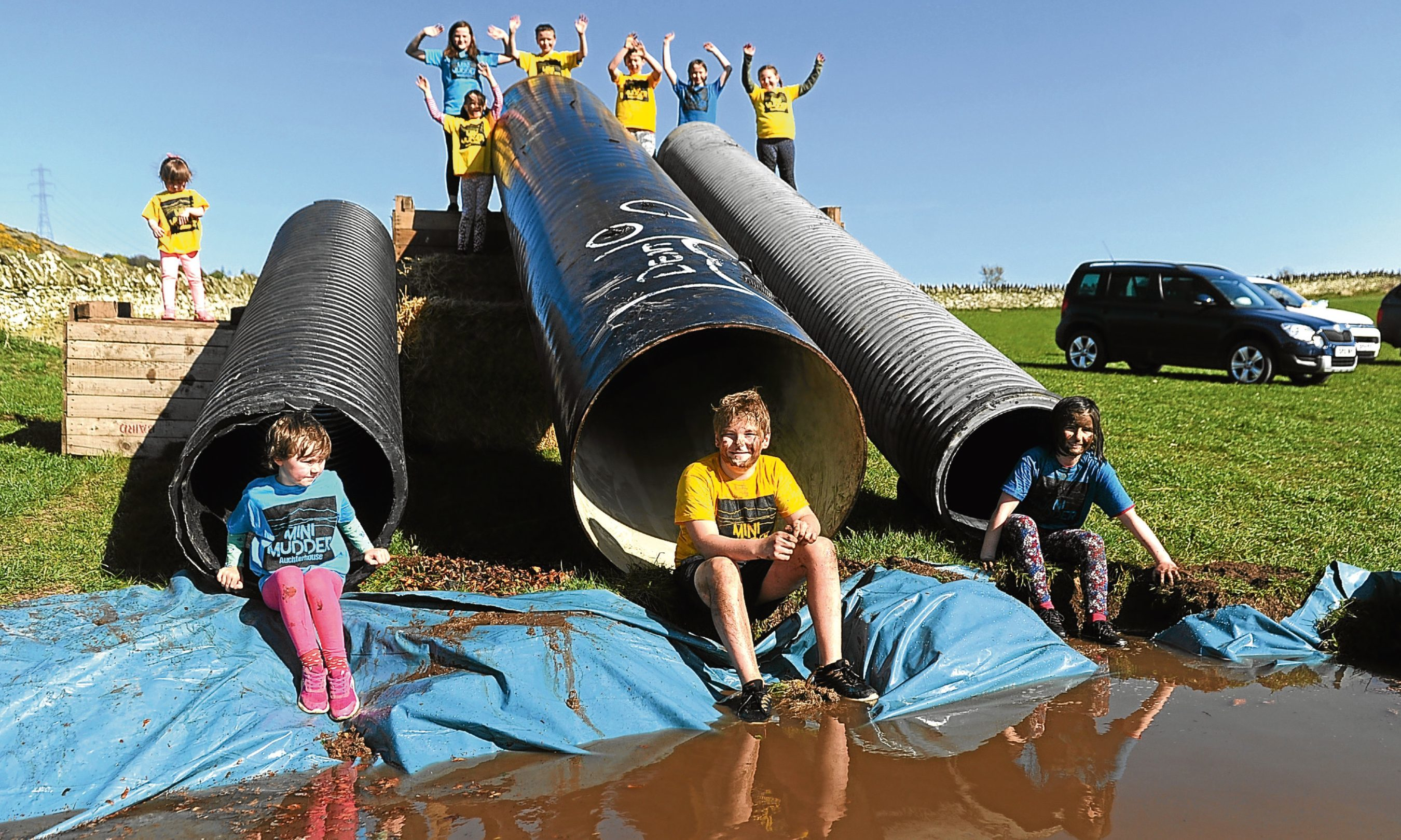n Pictured are some of the children at the school testing out part of the course at Scotstoun Farm.