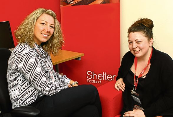 Tele News - Ciaran Shanks story - Shelter - Dundee. Picture shows; Michelle Harrow, left, - Shelter Scotland, Dundee Hub Manager, and volunteer Suzanne Sime, at the Shelter offices in Dundee today. Thursday 4th May 2017.
