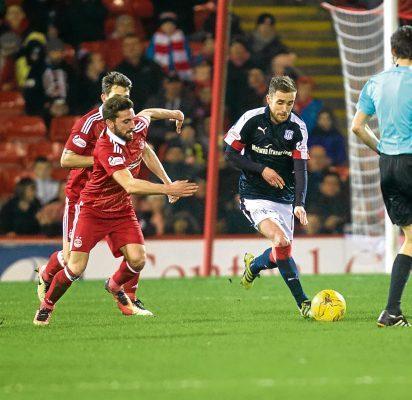 Dundee's Nick Ross and Aberdeen's GraemeShinnie