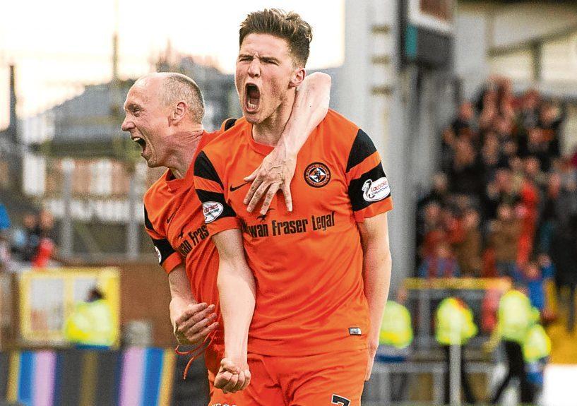 Blair Spittal celebrates his goal against the Bairns with Willo Flood.