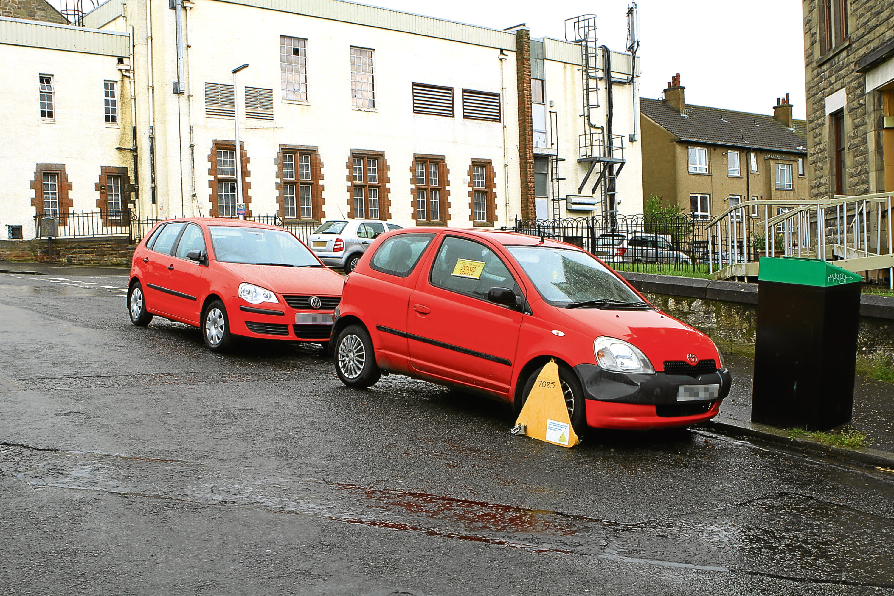 An untaxed and clamped vehicle on Seymour Street in Dundee.