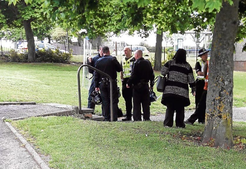 Police activity near the block
