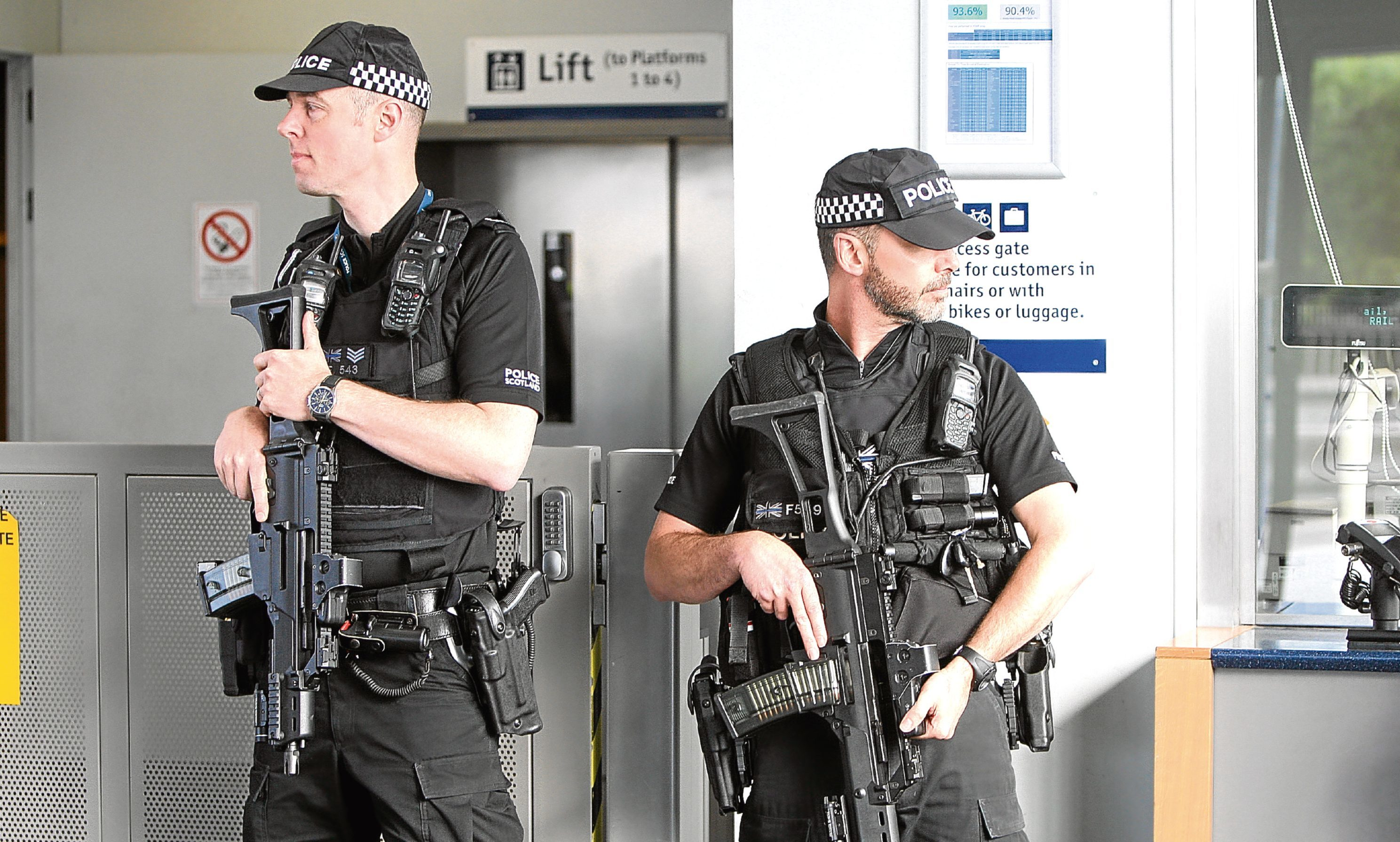 Armed police at Dundee station