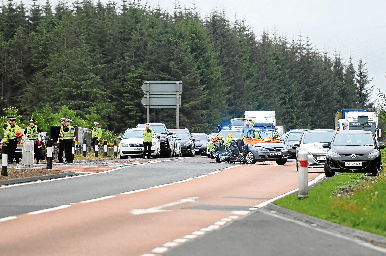 The scene of the A90 crash.