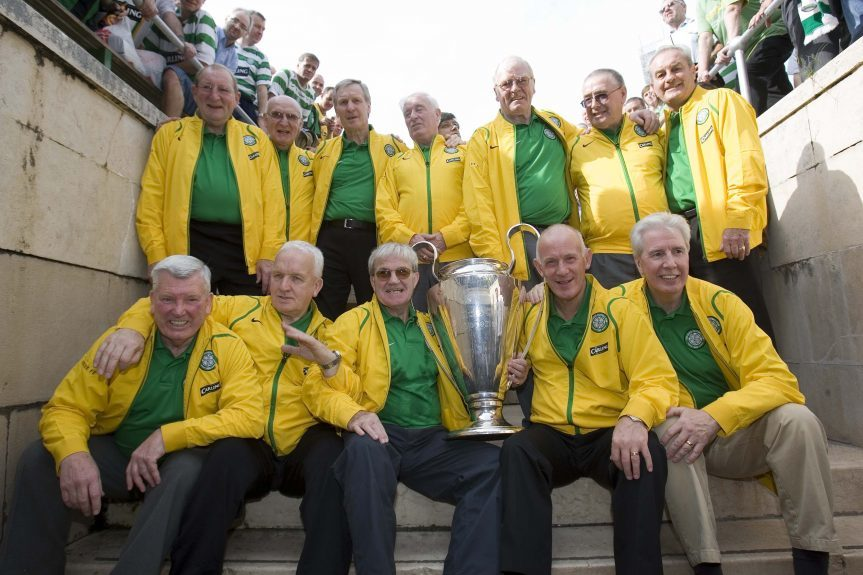 It's 2006 and the Lisbon Lions return to the scene of the 1967 European Cup triumph. Back row (from left) — Tommy Gemmell, Willie O'Neill, Billy McNeill, Charlie Gallacher, John Fallon, Willie Wallace, Steve Chalmers. Front row — Joe McBride, John Clark, Bertie Auld, Bobby Lennox, Jim Craig.