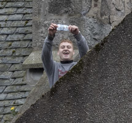 Corey Gibb on the roof