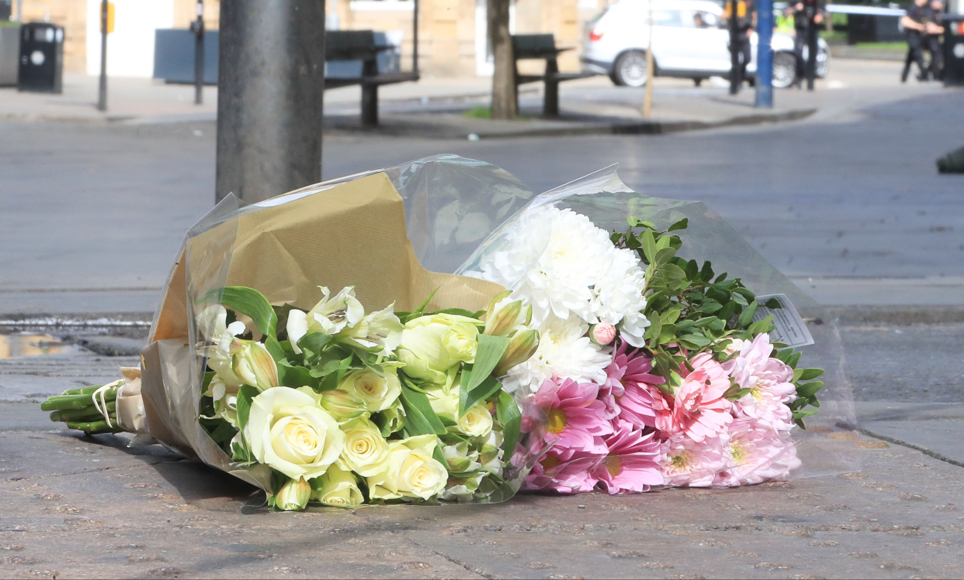 Flowers left close to the Manchester Arena
