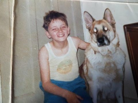 Gary as a youngster with pet dog Jody