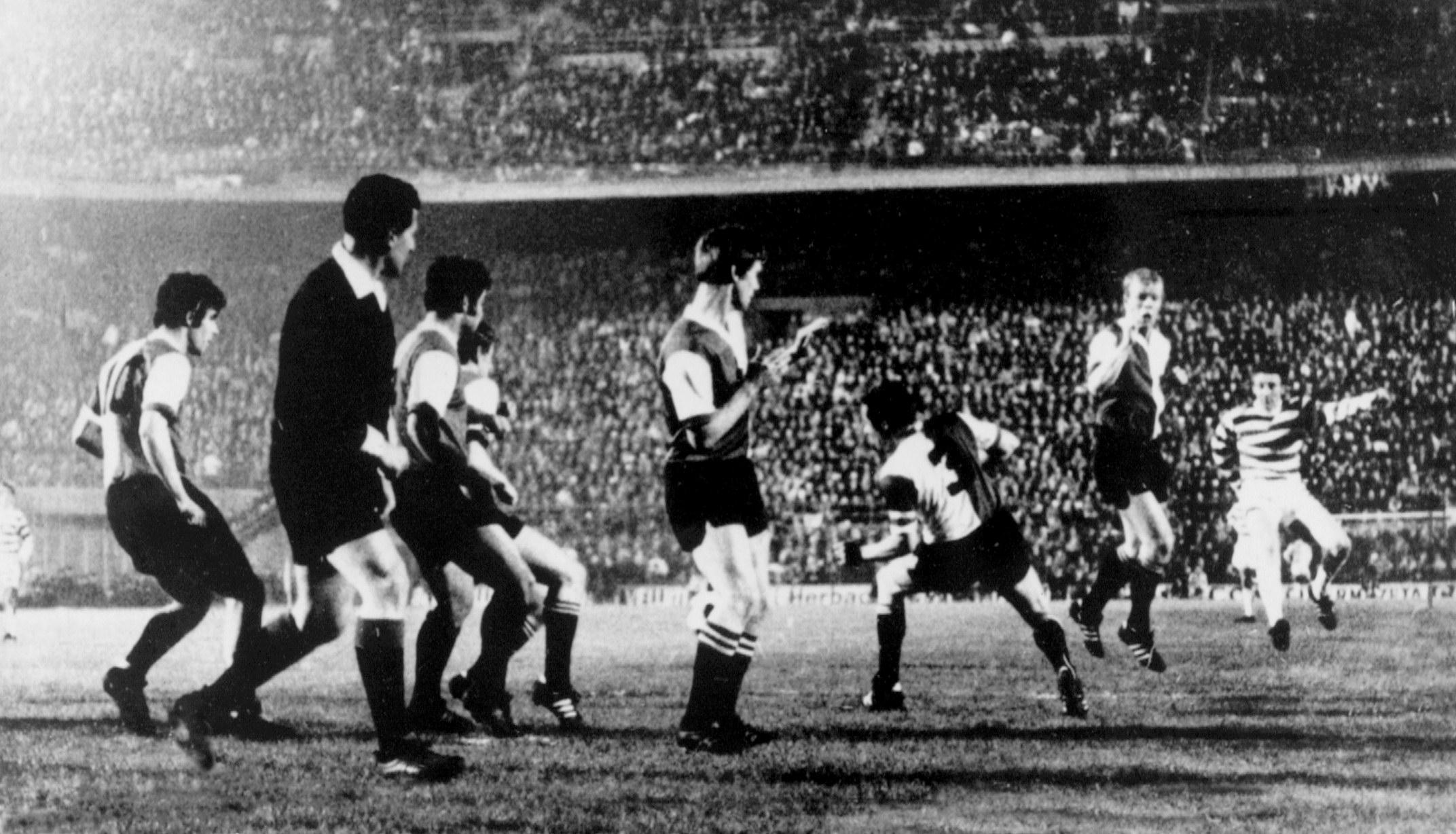 Even the referee had to duck out of the way when Tommy Gemmell fired in one of his piledrivers, as witnessed in this photo of the left-back's goal against Feyenoord in the 19710 European Cup Final, which the Dutch side won 2-1.
