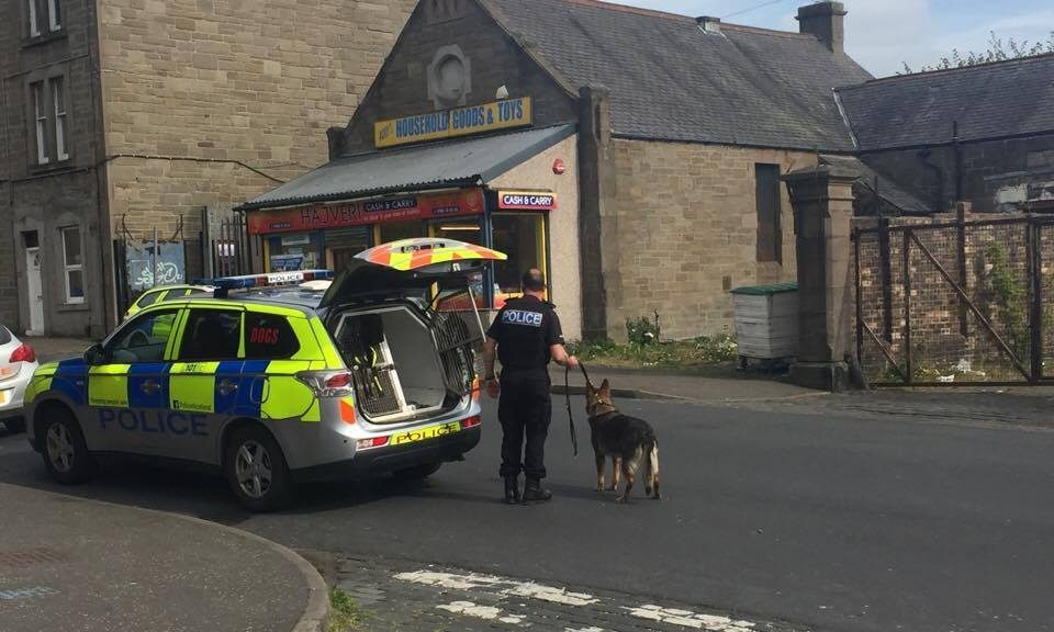 Police at the scene yesterday afternoon