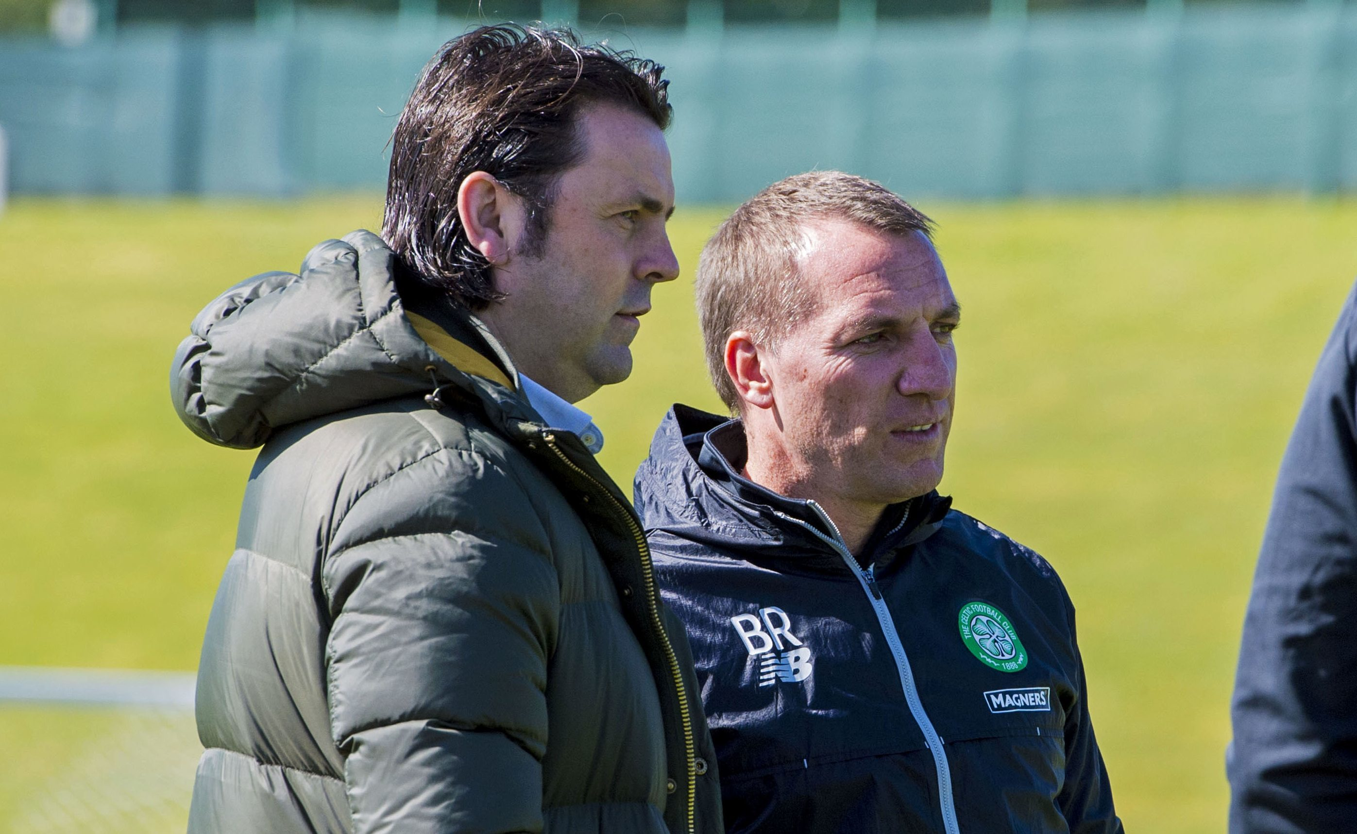Ex-Dundee boss Paul Hartley with Celtic manager Brendan Rodgers at Celtic's Lennoxtown training base.