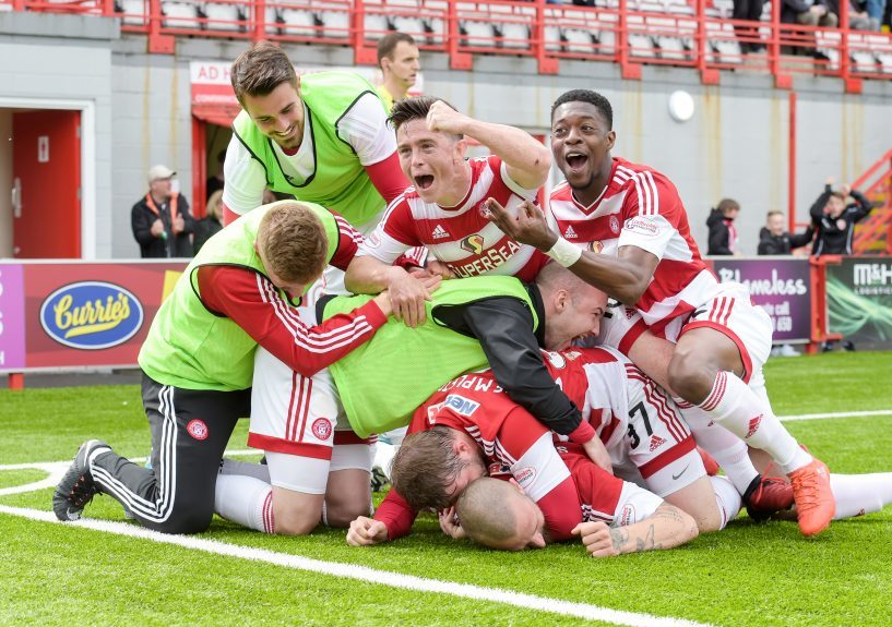 Hamilton players celebrate one of the goals against Dundee