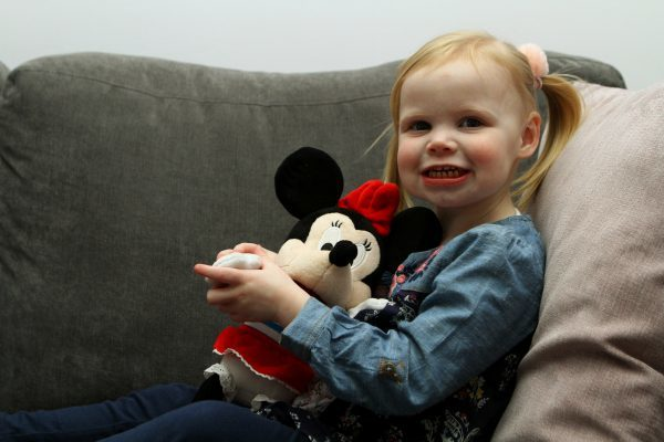 Tele News - Dundee story - Zoe Doogan - Dundee. Picture shows; two year old Zoe Doogan at home in Broughty Ferry today, clutching her Disney toys, ahead of her trip to Disneyworld in Florida. Wednesday 8th February 2017.