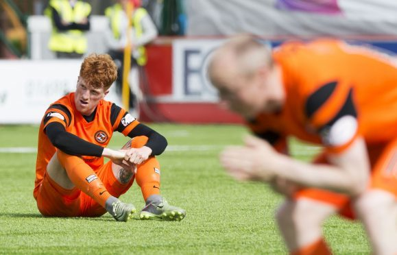 A dejected Simon Murray after Dundee United were consigned to the Championship for another season.