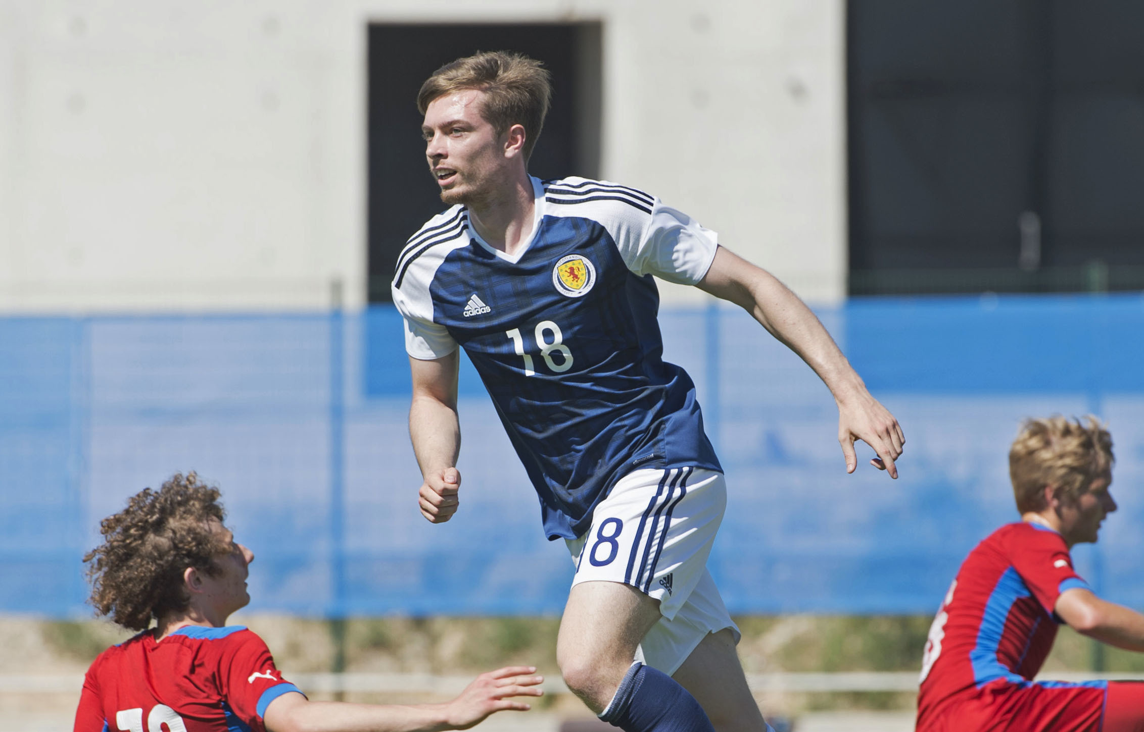 Craig Wighton celebrates after scoring for Scotland against Czech Republic in the Toulon Tournament.