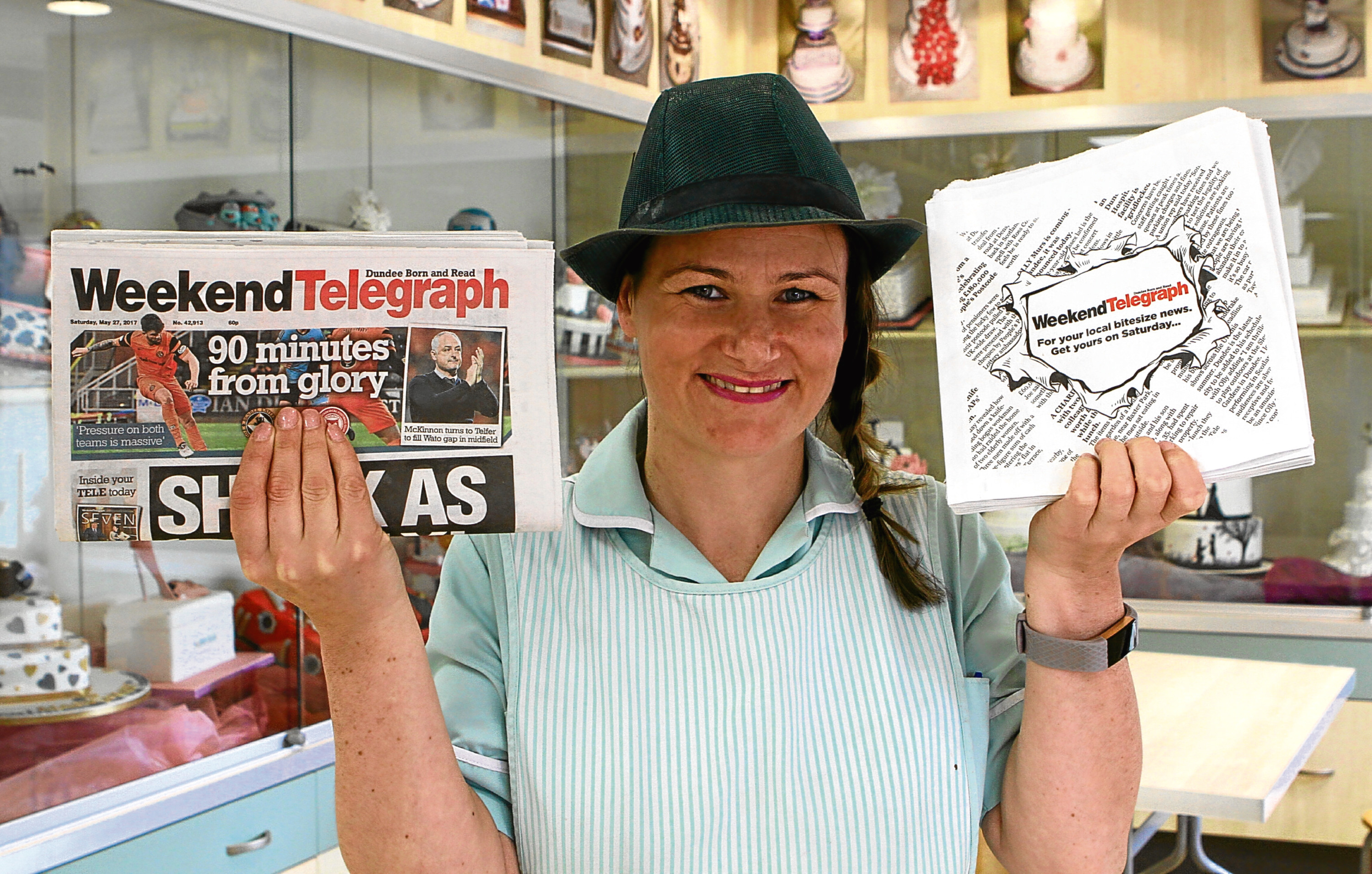 Tele News - Dundee story - Weekend Tele paper bags - Dundee. Picture shows; Kerry - Ann Scott, Manager,with the Weekend Tele paper bag at Nicoll's Rosebank Bakery today. Tuesday 30th May 2017.