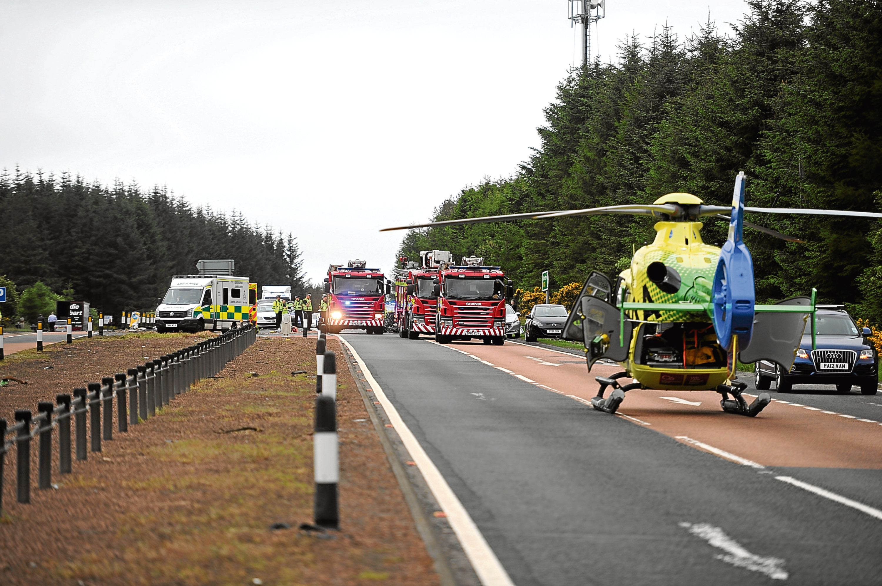 The scene of Monday's crash on the A90, which required attendance from the air ambulance.