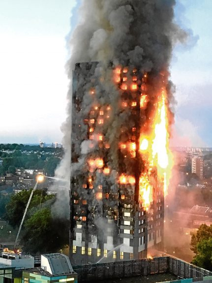 A terrifying image of the  huge Grenfell Tower blaze