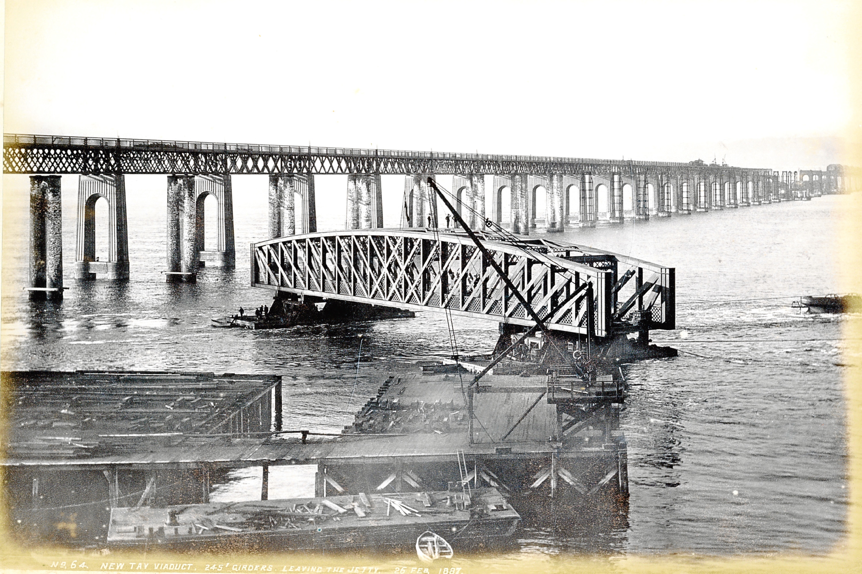 A picture showing work on the rail bridge after the disaster. Image courtesy of Dundee City Archives.