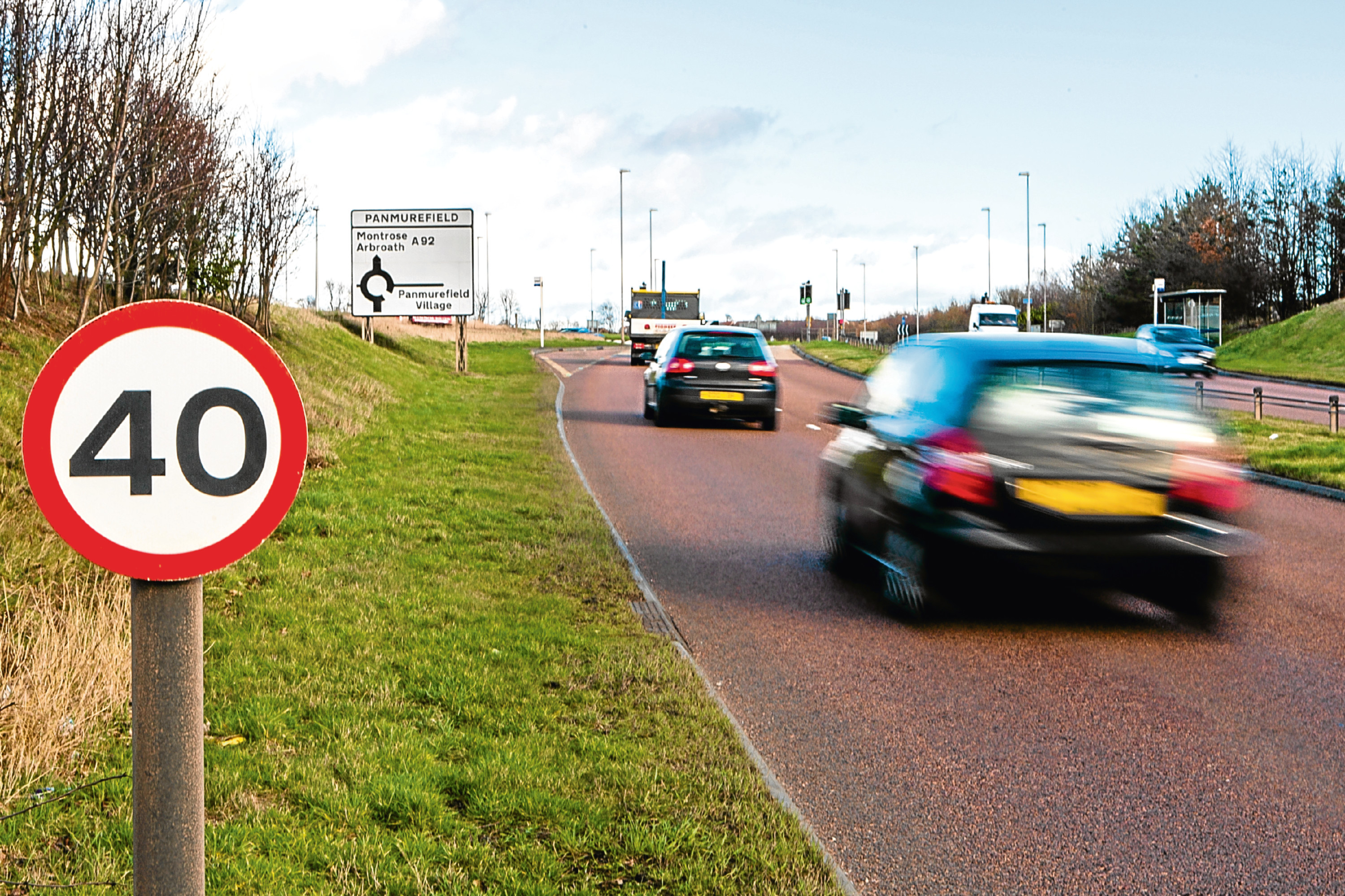 A92 Dundee to Arbroath Road (eastbound) by Panmurefield (stock image)