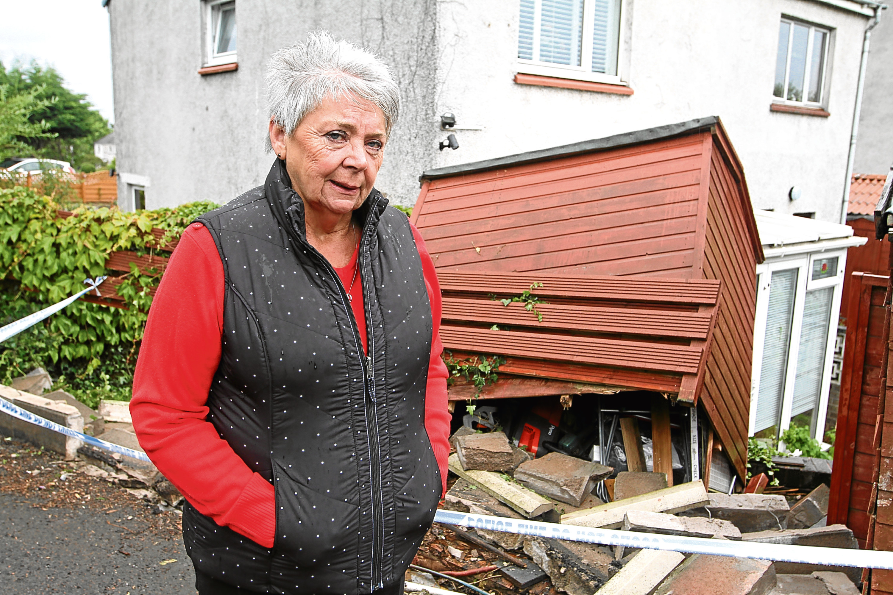Patricia Smart shows the damage to her garden wall and shed following the crash.