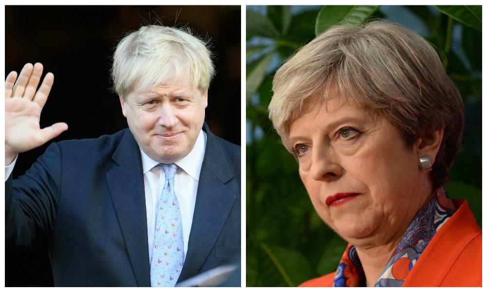 Boris Johnson and, right, Theresa May