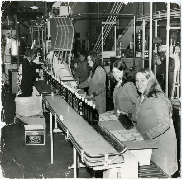 Hard at work within the Stewart's Cream of the Barley bottling plant.